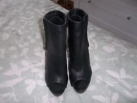 New Look Brand New Size 5 Black Wedge Peep-Toe Boots.