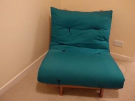 Single Futon. Green one side, Navy Blue the other on Pine base. Excellent condition, hardly used.