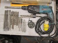 Makita SDS rotary hammer drill & chisel inc 6 sharpend chisel's 21 drill bits & key chuck
