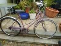 vintage ladies raleigh caprice lilac 21 inch frame bike with basket and lock