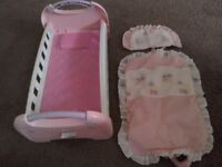 Fisher price baby doll bed with bedding £3