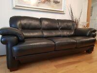 3 + 2 seater black leather sofas + footstool