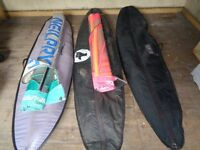 3 Windsurf boards with bags and 2 sails