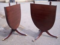 Vintage oval dining table with restored top for 6 seater-folding table, solid wood. Two pedestals.