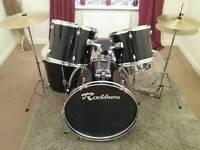Rockburn 5 Piece Full Drum Kit. - Black