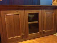 Handmade wax finish glazed pine kitchen cupboard with architrave top