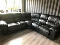 Large black leather corner sofa recliner