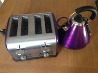 Purple kettle and toaster set