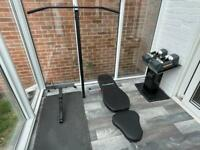 Powerblock Sport 9.0 Dumbbells with Stage 1&2 + Stand, Powerblock Bench, Pull up & Dip