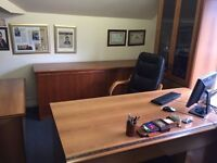 Executive Office Furniture including Table, Display Cabinet, Draws, leather chair