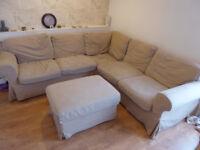 Ikea Ektorp 4 Seat Corner L-Shaped Sofa Beige/Sand Cover + Storage Ottoman/Footstool +2 Spare Covers