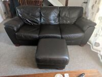 Brown 3 seater faux leather sofa, footstool and reclining armchair