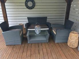 Rattan Two Seater Garden Sofa, Two Armchairs and Glass Topped Table
