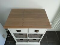 White wood storage unit with drawers