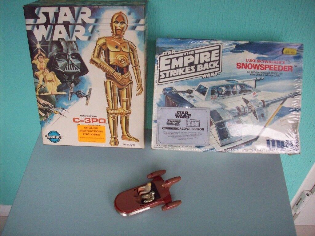 Star wars Vintage C3P0 + Snowspeeder model kits + die-cast Landspeeder
