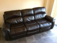 Pulaski Brown Leather 3 Seater Sofa Settee Couch Manual Recliner and Chair Suite - Return £1500