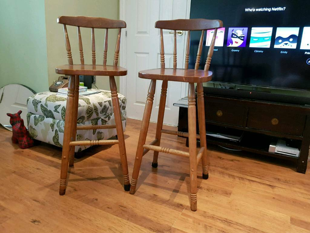 Vintage Retro Style Country Cottage Pine High Bar Stools Kitchen Pair