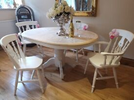 Shabby Chic Country Pine Extendable Dining Table And 4 Chairs