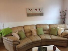*FREE* Large beige corner sofa with 2 armchairs & footstool