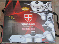 stainless steel pots pans new boxed 16 pc only £55