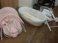 Moses basket,stand and baby bouncer