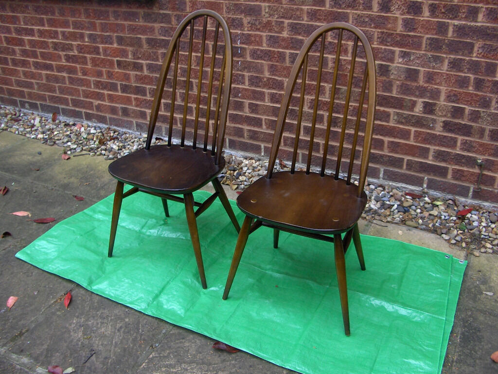 Antique wooden spindle chairs - 2 Ercol 1960s Retro Vintage Antique Wooden Spindle Back Chairs Free Local