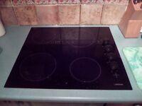Black 4 ring ceramic hob. Lamona brand.