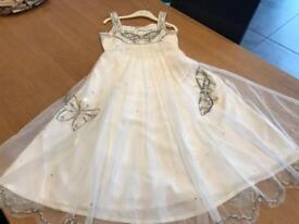 BEAUTIFUL MONSOON GIRLS OCCASION IVORY BUTTERFLY DRESS AGE 8-9
