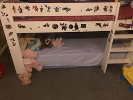 Mid sleeper single bed & bed side cabinet.