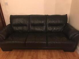3 seater. Black leather sofa. Good condition.