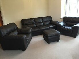 Chocolate brown, 1x3 seater, 2xsingle seater and 1xpouffe, used, great condition non smokers no pets