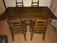 Traditional Solid Wood Dining Table with 4 Chairs and Traditional Wooden Dresser