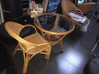 Wicker round dining table set