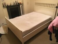 White wooden double bed frame (for free)