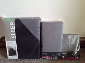 Brand New Black/Grey Reversible Double Duvet Cover Set, Double Grey Sheet and 2 Grey Pillowcases
