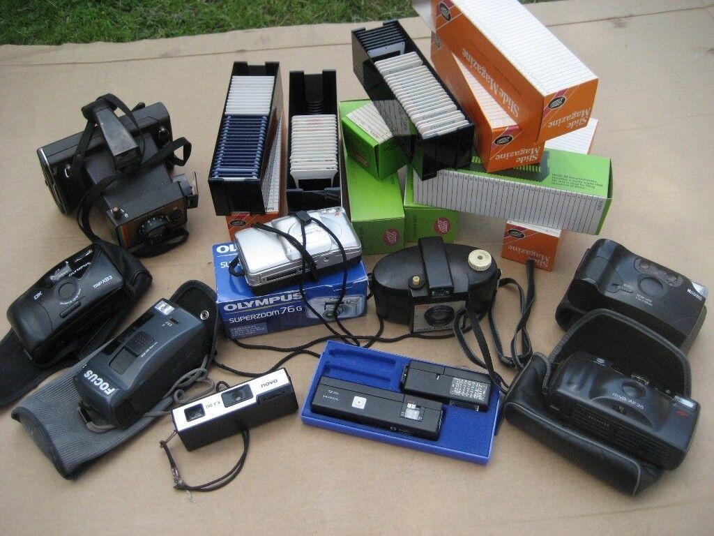 job lot 35mm camera and 35mm slides kodak brownie polaroid vintage