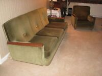 Traditional style green velour 3 piece suite - Retro 1960. Good solid frame, no fire certificate