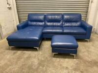FREE DELIVERY REAL LEATHER BLUE L-SHAPED CORNER SOFA & FOOTSTOOL GREAT CONDITION