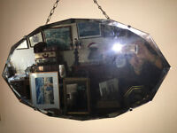 Very Pretty Large Vintage 1930s Art Deco Frameless Scalloped Edge Bevelled Wall Mirror