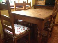 CHUNKY OBLONG PINE TABLE with 4 CHAIRS in excellent condition