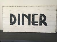 NEW Large Shabby Wooden DINER Wall Art Sign 4ft x 2ft Cafe Restaurant Bar RRP £199 Cream Grey RARE