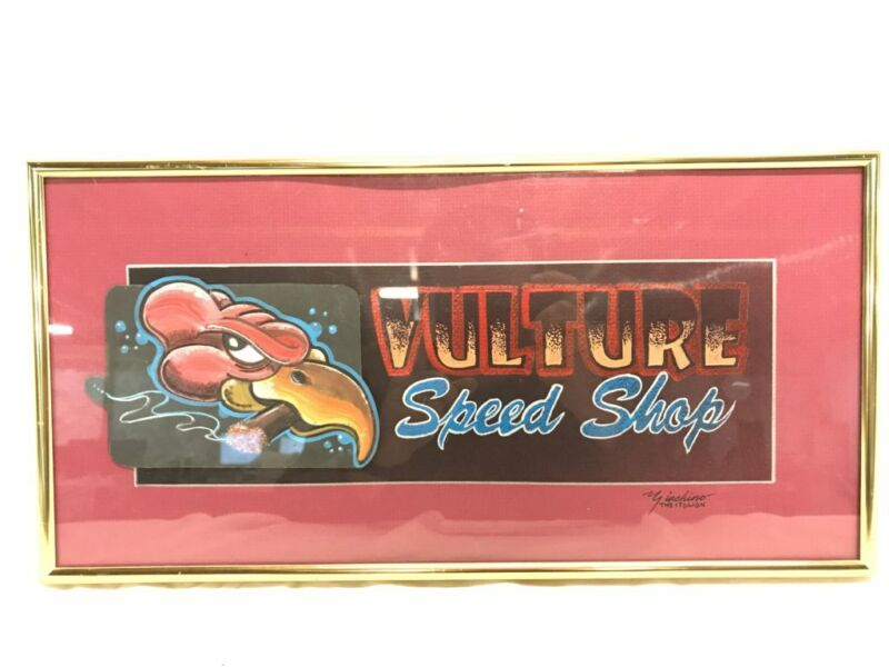 Vulture Speed Shop Mixed Media Framed Art Piece, Signed Giachino. ref 21874