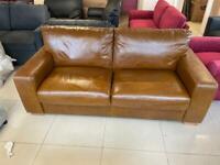 Brand New 3 Seater Tan 100% Aniline Leather Sofa.