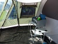 Outwell Vermont L - 6 berth tent with associated kitchen equipment.