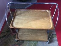 "Mid-Century collapsible folding trolley. Ergonomic clever design. Original ""Stamped"" piece."