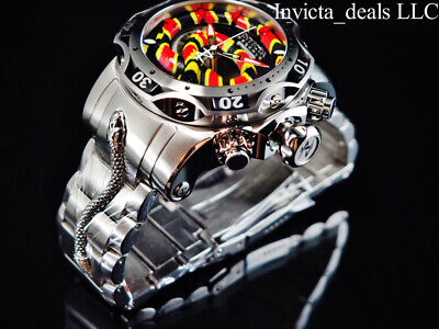 Invicta Men's 52mm Reserve KING VENOM CORAL SNAKE Swiss Chrono Silver Tone Watch
