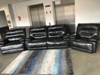 BLACK LEATHER 3 SEATER X 2 ARM CHAIRS ELECTRIC POWER RECLINERS - DELIVERY AVAILABLE‼️