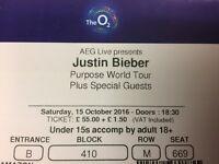 4x Justin Bieber Purpose World Tour Tickets Saturday 15/10