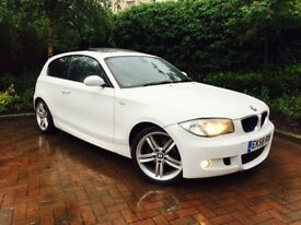 BMW 118 2.0 D MSPORT WHITE WITH FULL BLACK LEATHER SPORTS SEATS MINT CONDITION TOP SPEC ONLY 61K