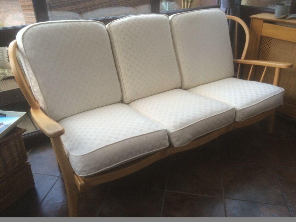 Ercol Style Windsor Stick Back Sofa Vintage Retro Style